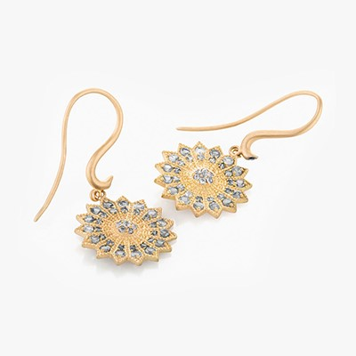 POWER OF LIGHT LOTUS FULL MINI DIAMOND EARRINGS