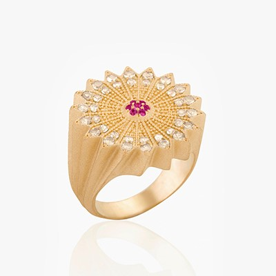 POWER OF LIGHT LOTUS FULL DIAMOND RING