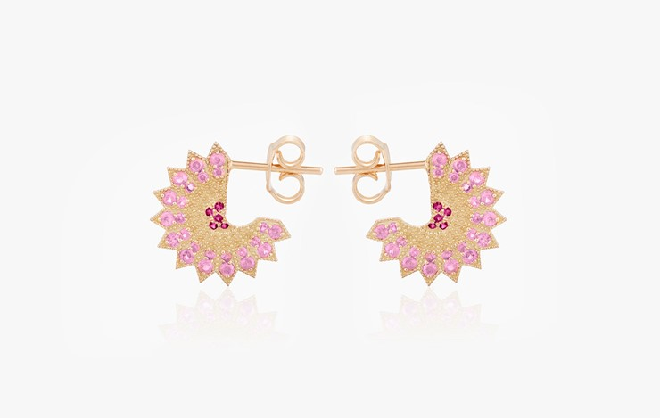 POWER OF LIGHT LOTUS FULL SMALL EARRINGS