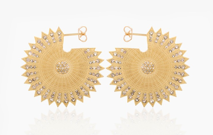 POWER OF LIGHT LOTUS FULL LARGE DIAMOND EARRINGS